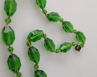 Art Deco CZECH Glass BEADED Necklace Geometric Faceted Beads Green Glass Hand Knotted GORGEOUS
