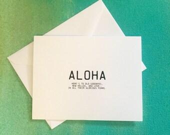 ALOHA folded notecard with envelope