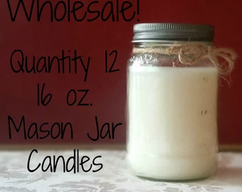 12 Pack Wholesale Candles, 16 oz. Mason Jar