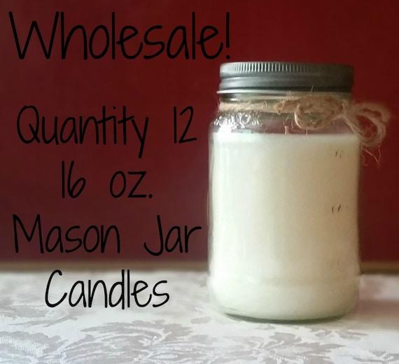12 Pack Wholesale Candles 16 oz. Mason Jar