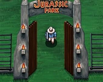 "SALE! Jurassic Park Painting 12"" X 12"""