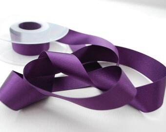Blackberry Double Satin Ribbon 25mm (1 inch) width, Berisfords shade no. 6841