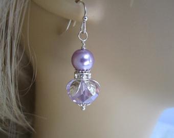 Wisteria  Crystal Bridesmaid Earrings Purple Wedding Bridesmaid Jewelry Maid of Honor