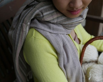 Spring cotton handwoven natural dyed scarf #5