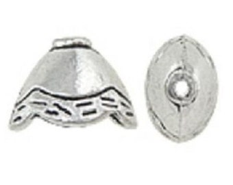 12pc antique silver finish 12x9x8mm metal cone shape bead caps-8033