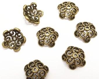 10pc 14.mm antique bronze lead nickel free bead cap-8098D