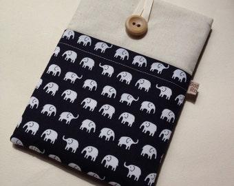Kindle cover, Kindle Voyage sleeve little elephants / kindle touch / kindle 4 / kindle voyage cover in cute elephant fabric calico lining