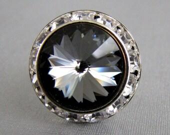 Silver Night Swarovski Crystal Ring Adjustable Silver Halo