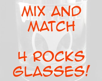 MIX and Match 4 Lowball Rocks Glasses you choose the designs