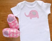 Elephant Baby Girl Onesie with Flannel Baby Shoes, Size 3 mos Onesie, Baby Girl Bodysuit, Elephant Baby, Gift for Baby Girl, Ready to Ship