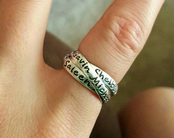 Rolling Ring, Mothers Ring, Name Ring, Message Ring, Wedding Ring