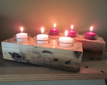Two Candle Holders made from Reclaimed Lumber, Candle Centerpiece, Candle Holder, Reclaimed Lumber