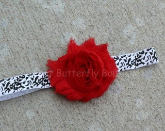 Red Shabby Damask headband - White and Black headband - Damask headband - Red white and black - Formal headband - Birthday headband