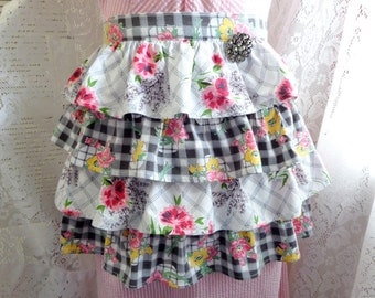 Ruffled Half Apron Made With Vintage Fabric and Brooch