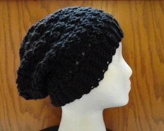 Crochet Slouchy Beanie Black Women Teen Hat
