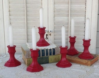 Red Painted Candle Holders  - Set of 6 Glass Taper Holders - Mantel Decor - Christmas
