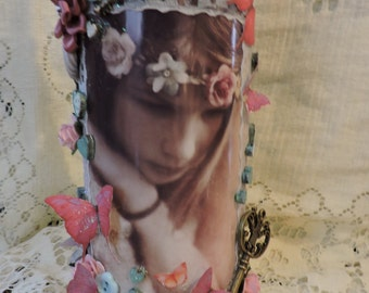 Dreaming - Hand decorated wine bottle -