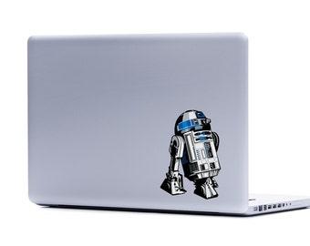 Star Wars R2-D2 TOO Vinyl Laptop or Automotive Art FREE SHIPPING, netbook notebook sticker droid clone wars robot sticker scifi laptop art