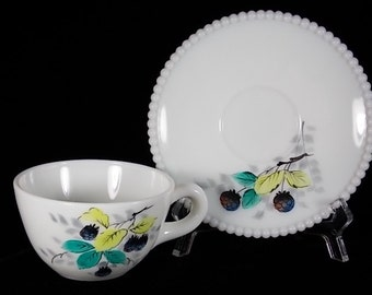 1950s Westmoreland Beaded Edge Cup & Saucer Set with Hand Painted Blackberrys in White Milk Glass Fruit Decoration Pre Logo No Trademark - I