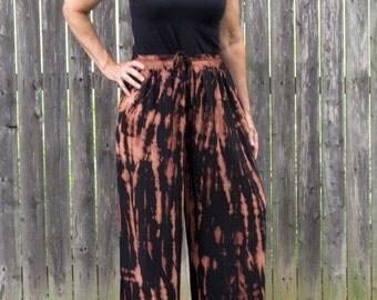 Burnout Black Tie-Dye Rayon Loose Pants