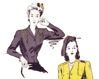 1940s Jacket Pattern, Butterick 2859, Evening Blouse, Nip Waist Jacket, Dart Fitted Short or Hip Length, Vintage Sewing Pattern Bust 32