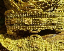 Plush Rich Elaborate Gold & Green Vintage French  Passementerie Trim -Gorgeous Period Colourway for Home Projects