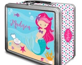 Mermaid Classic Tin Lunch Box with or without Side Wrap | Back To School | Personalized | Image on Both Sides | Script or Block Name