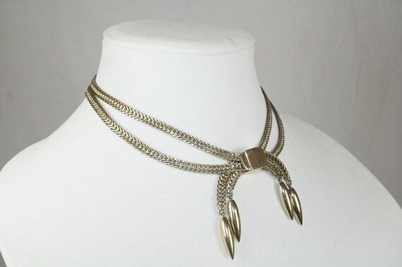 1940s Vintage Monet Double Chain Lariat Style Choker Necklace