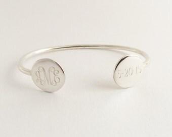 Monogram Cuff Bracelet Stacking Bracelet Bangle for Silver or Gold Finish Women Bridesmaid Present Monogram JewelryTwo Engraved Discs