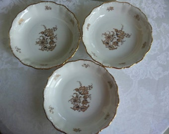 Set of 3 Seltmann Bavaria Soup Bowls. Gorgeous Gold Flowers and Trim
