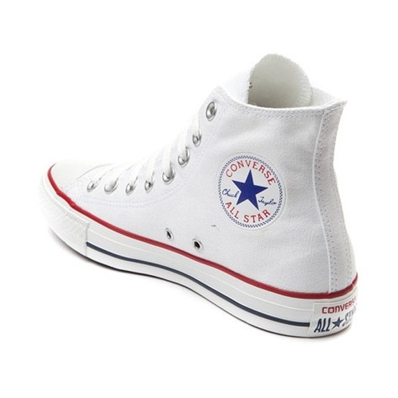 White Converse High Top Mens Ladies Wedding Glass Slippers w/ Swarovski Crystal Rhinestone Jewel Bling Chuck Taylor All Star Sneakers Shoes