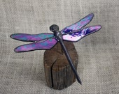Blue Iridescent Dragonfly Stained Glass Sculpture on Wood Base, Glass Art