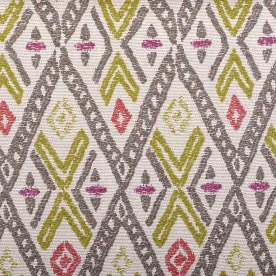 Fuchsia and Grey Woven Ikat Upholstery Fabric for Furniture