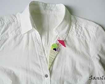 Felt brooch-brooch felt-felt pin-felt ice cream brooch-ice cream brooch-brooch accessories-felt jewelry-felt accessories