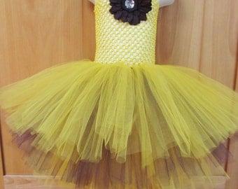 Sunflower tutu dress 18month - 3T flower girl dress photo prop fall dress