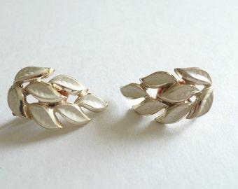 CORO Gold with White Enamel Leaf Vintage Clip Earrings