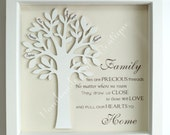 Personalised, 3D wooden Family Tree in a box frame, Gift for Wedding, Anniversary, New Born, Christening, Keepsake, Mothers/ Fathers Day