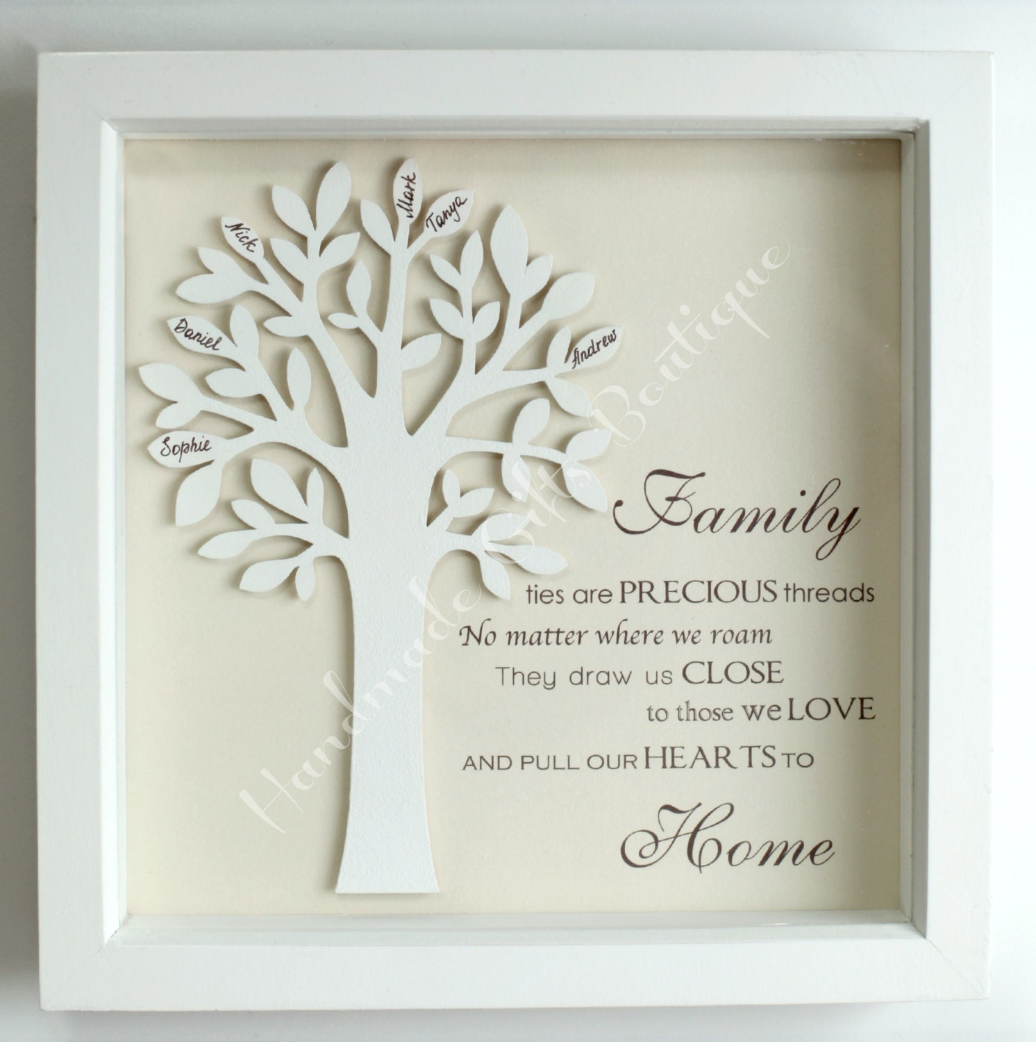 Wallverbs Family Tree Personalized Picture Frame Set: Personalised 3D Wooden Family Tree In A By