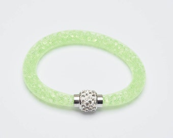 A 7 1/2 inch Lime Mesh Bracelet with 3mm Lime Crystals and Magnetic Clasp.