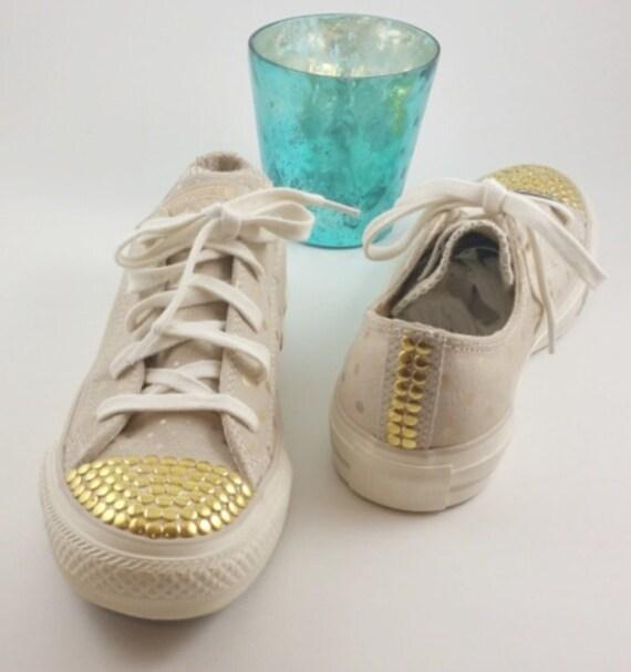 Beige Suede Gold Polka Dot  Converse-Gold Nail Head Toe-Custom Chucks -