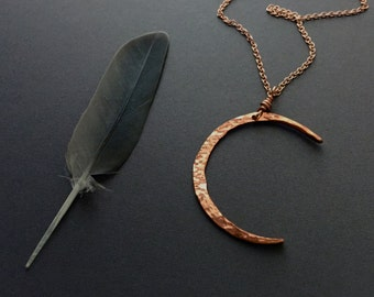 crescent moon layering necklace // hammered copper jewelry