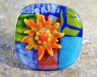 Artsian Cabinet Knob,  Flower Pull, FUSED Glass Knob, Leash or Jewelry Hanger
