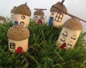 Mini fairy acorn houses garden picks handmade with love set of three