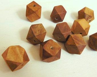 Geometric Walnut Wood Beads -20mm Big Hole, Geometric Jewelry,Do it Yourself Geometric necklace