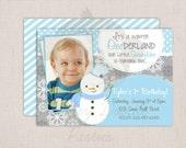 Winter ONEderland Boys Snowman Blue & Grey Birthday Party Printable Invitation Digital File