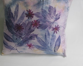 """Hand dyed and printed purple and pink silk throw pillow case/cover- """"Cosmic Flowers II"""""""