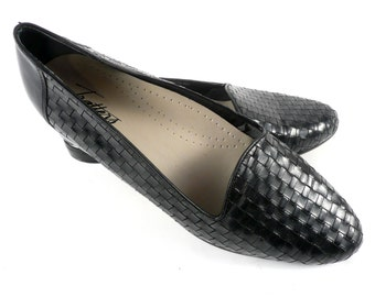 Vintage 90s Trotters Black Woven Leather Huarache Loafers Shoes 9