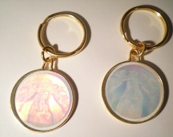 4 Vintage Glass Mother Mary Virgin Mary  Hologram Keyrings