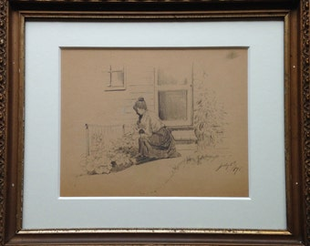 Woman in the Garden, Original Drawing by L. Clarence Ball (1858-1915)