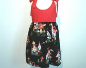 OOAK Girl's dress. Size 4 Red and Black Garden Gnomes tie dress.